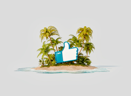 Unusual 3d illustration of a tropical island. Thumb up icon on a beach. Travel, vacation and social media concept.