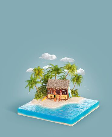 Unusual 3d illustration of a tropical island. Couple of young people sitting at bar on a beach. Tropical beach party. Travel and vacation concept. Reklamní fotografie