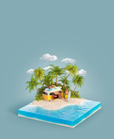 Unusual 3d illustration of a tropical island. Young surfer with a surfboard standin on a beach by orange retro van. Travel and vacation concept.