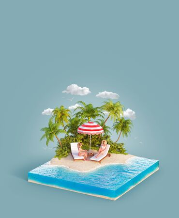 Unusual 3d illustration of a tropical island. Two beautiful young women lying on deck chairs on beach. Travel and vacation concept.