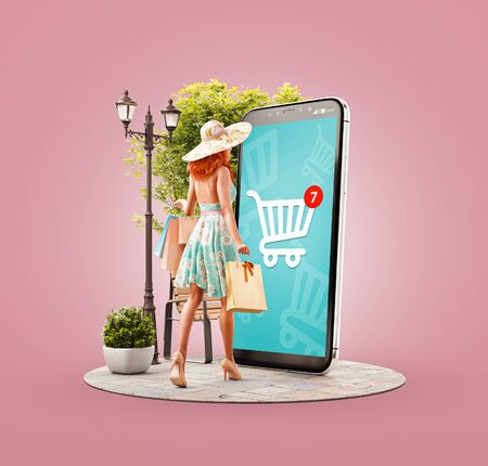 Ilustración 3d inusual de una mujer feliz con bolsas de compras haciendo compras en línea con un teléfono inteligente con carrito de compras en la pantalla. Concepto de aplicaciones para teléfonos inteligentes. Consumismo y compras.