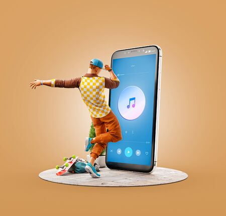 Unusual 3d illustration of a young man dancing in front of smartphone and using music player application. Player apps concept. Stock Photo
