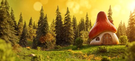 Amazing cute cartoon mushroom house on a meadow in the midst of magical forest. Unusual 3D illustration