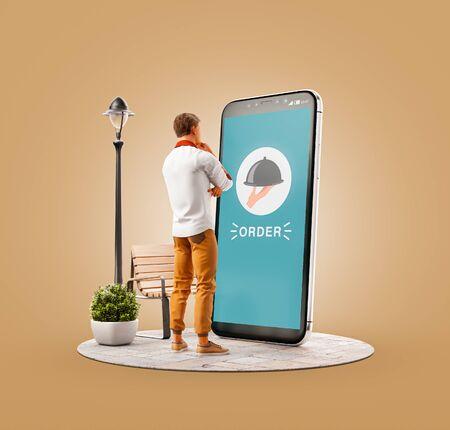 Ungewöhnliche 3D-Darstellung eines jungen Mannes, der am großen Smartphone steht und Essen bestellt. Konzept der Food Delivery-Apps. Online-Restaurant-Essen.