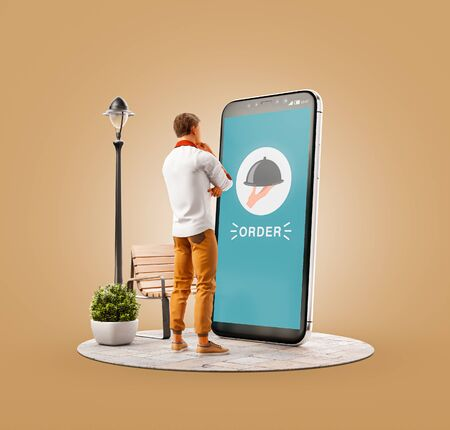 Unusual 3d illustration of a young man standing at big smartphone and ordering food. Food Delivery apps concept. Online restaurant food. 版權商用圖片