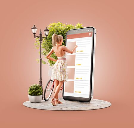Unusual 3d illustration of a young woman standing in front of big smartphone and browsing websites using applications. Smartphone apps concept. Choosing any items.