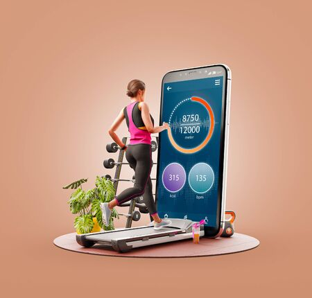 Unusual 3d illustration of a young woman in sportswear running on a treadmill in front of smartphone and using smart phone for exercises. Smartphone sports and gum apps concept. 版權商用圖片