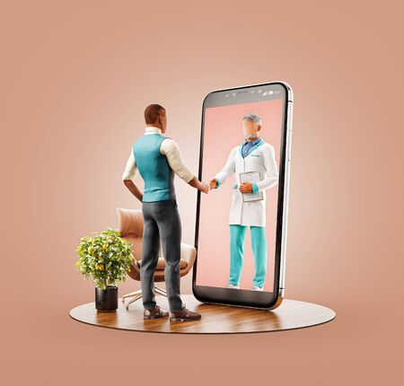 Unusual 3d illustration of a man standing in front of smartphone screen shaking hands with his doctor. Health care Smartphone apps. Online medical consultation and support concept. 版權商用圖片