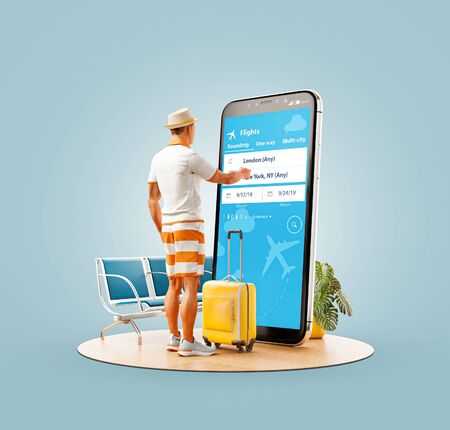 Unusual 3d illustration of a young man standing in front of smartphone and using travel fare aggregator application for searching flights. Cheap flights searching and booking apps concept.