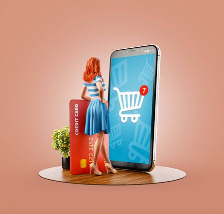 Unusual 3d illustration of a Happy woman with credit card doing online shopping using smartphone with shopping cart on screen. Smartphone apps concept. Consumerism and shopping. 版權商用圖片