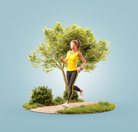 Unusual 3d illustration of a young woman jogging in a park. Jogging and running concept. 版權商用圖片