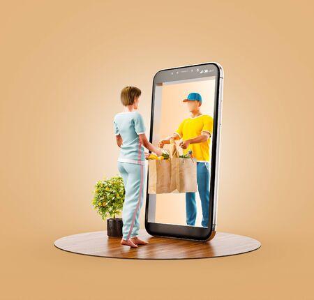Niezwykła ilustracja 3d młodej kobiety otrzymywania zamówienia od kuriera. Usługa dostawy żywności inteligentny telefon aplikacji. Koncepcja aplikacji na smartfony.