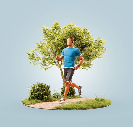 Unusual 3d illustration of a young man jogging in a park. Jogging and running concept.