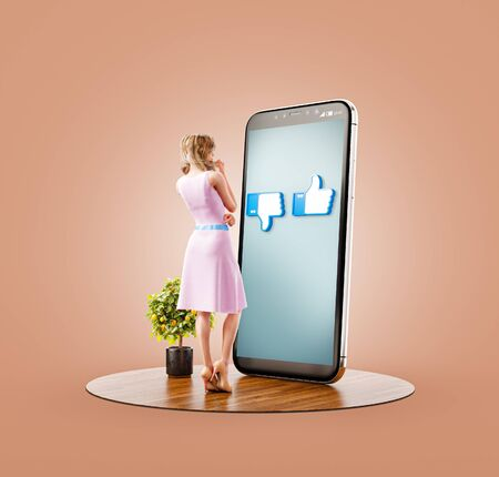 Unusual 3d illustration of a young pretty woman in front of smartphone choosing like or dislike. Social media and social network apps concept. Like dislike. Thumbs up and thumbs down icons.