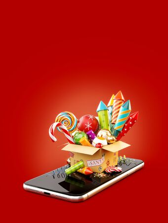 Cardboard box with fireworks, candy cane and christmas baubles on smartphone. Unusual 3d illustration of christmas application. Merry Christmas and a Happy New Year concept. 版權商用圖片