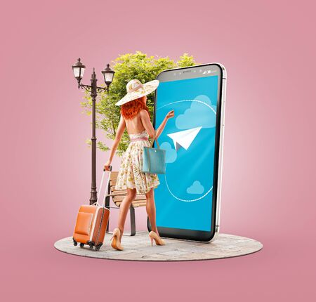 Unusual 3d illustration of a young woman with travel suitcase goes to big smartphone screen and using smart phone application. Smartphone travel apps concept. Searching flights and hotel reservation