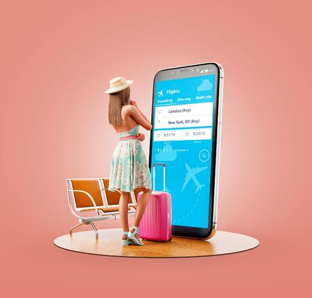 Unusual 3d illustration of a young woman in standing in front of smartphone and using travel fare aggregator application for searching flights. Cheap flights searching and booking apps concept. 版權商用圖片