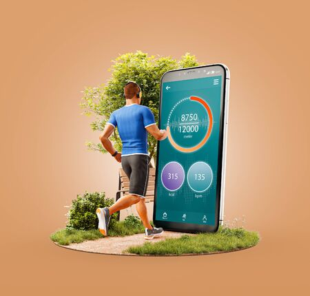 Unusual 3d illustration of a young man in sportswear running in park in front of smartphone and using smart phone for exercises. Smartphone sports and gum apps concept.