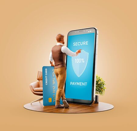Unusual 3d illustration of a man with credit card doing online payment using smart phone application. Smartphone payment apps concept. Secure payments