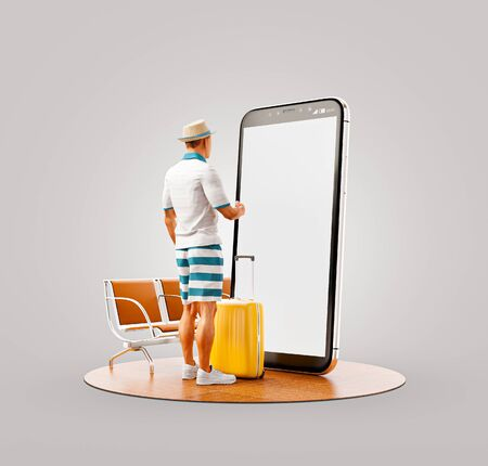 Unusual 3d illustration of a tourist with in straw hat with his luggage standing in front of smartphone and using smart phone application. Travel smartphone apps concept. 版權商用圖片