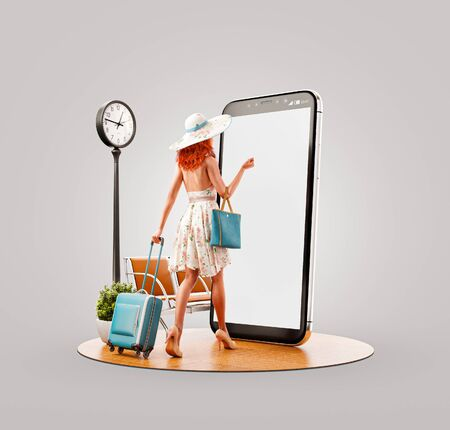 Unusual 3d illustration of a young woman in summer dress goes with travel suitcase to smartphone screen and using smart phone application. Smartphone travel apps concept.