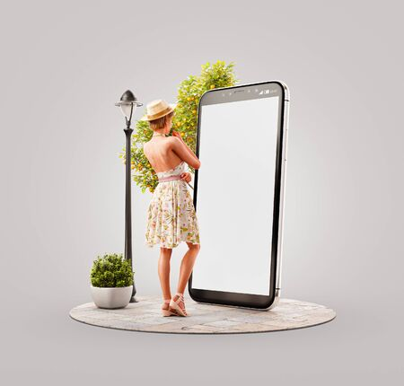 Unusual 3d illustration of a pretty woman in summer dress standing in front of smartphone and using smart phone application. Smartphone apps concept. 版權商用圖片