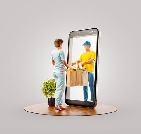 Unusual 3d illustration of a Young woman receiving order from courier. Food delivery service smart phone application. Smartphone apps concept.