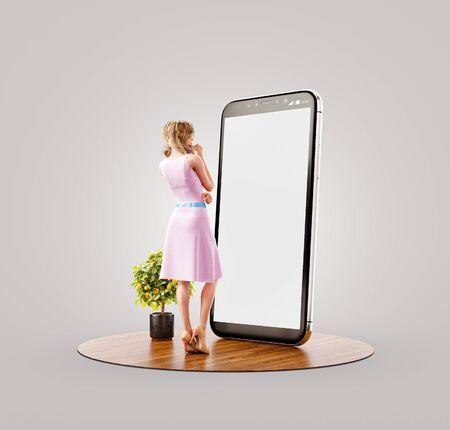 Ilustración 3d inusual de una mujer bonita en vestido de verano de pie frente al teléfono inteligente y usando la aplicación de teléfono inteligente. Concepto de aplicaciones para teléfonos inteligentes.