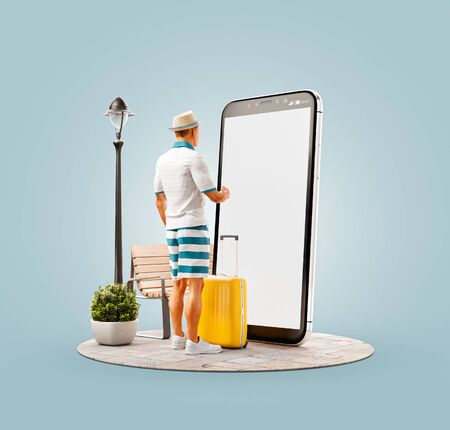 Unusual 3d illustration of a tourist with in straw hat with his luggage standing in front of smartphone and using smart phone application. Travel smartphone apps concept. Stock fotó