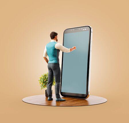 Ungewöhnliche 3D-Darstellung eines jungen Mannes, der vor einem großen Smartphone im Büro steht und den Smartphone-Bildschirm berührt. Konzept für Smartphone-Apps.