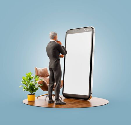 Unusual 3d illustration of a businessman in black suit standing at big smartphone and using smart phone application. Smartphone apps concept. 版權商用圖片