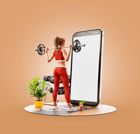 Ungewöhnliche 3D-Darstellung einer jungen Frau im Fitnessstudio, die Kniebeugen mit Langhantel vor dem Smartphone macht und das Smartphone für Übungen verwendet. Smartphone-Sport- und Kaugummi-Apps-Konzept. Standard-Bild