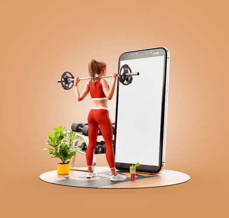Unusual 3d illustration of a young woman in gym doing squats with barbell in front of smartphone and using smart phone for exercises. Smartphone sports and gum apps concept. Standard-Bild