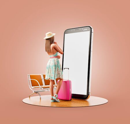 Unusual 3d illustration of a young woman in summer dress with travel suitcase standing in front of smartphone and using smart phone application. Smartphone travel apps concept. 版權商用圖片