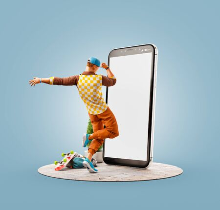 Unusual 3d illustration of a young man dancing in front of smartphone and using smart phone application. Smartphone apps concept.