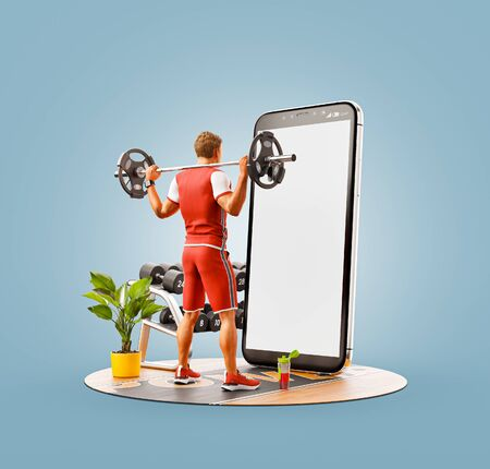 Unusual 3d illustration of a young man in gym doing squats with barbell in front of smartphone and using smart phone for exercises. Smartphone sports and gum apps concept.