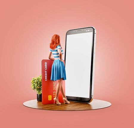 Unusual 3d illustration of a young woman with credit card standing at big smartphone and using smart phone application for shopping an payment. Payment online concept.