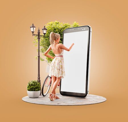 Unusual 3d illustration of a pretty woman in summer dress standing in front of smartphone and touching smart phone screen. Smartphone apps concept.