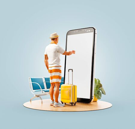 Unusual 3d illustration of a tourist with in straw hat with his luggage standing in front of smartphone and using smart phone application. Travel smartphone apps concept. Zdjęcie Seryjne