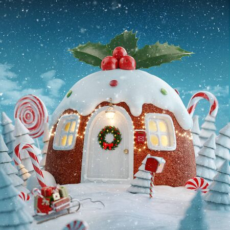 Amazing fairy house decorated at Christmas in shape of traditional Christmas homemade pudding with holly berries and Christmas lights in a magical forest with candy canes. Unusual Christmas 3d illustration postcard.
