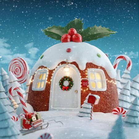 Erstaunliches Feenhaus, das zu Weihnachten in Form von traditionellem hausgemachtem Weihnachtspudding mit Stechpalmenbeeren und Weihnachtsbeleuchtung in einem magischen Wald mit Zuckerstangen dekoriert ist. Ungewöhnliche Weihnachtspostkarte der Illustration 3d. Standard-Bild