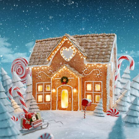 Amazing fairy Christmas gingerbread house decorated of Christmas lights in a magical forest with candy canes. Unusual Christmas 3d illustration postcard. Stock Photo