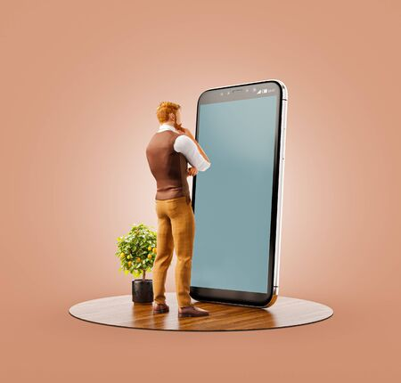 Unusual 3d illustration of a young man standing in fron of big smartphone in office. Smartphone apps concept. 版權商用圖片