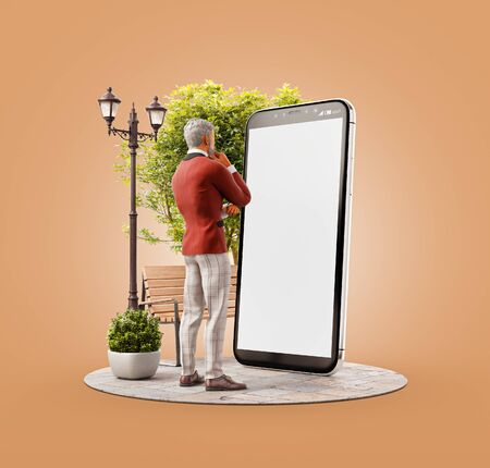 Unusual 3d illustration of a man in casual suit standing at big smartphone and using smart phone application. Smartphone apps concept.