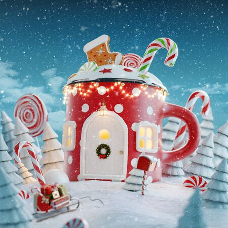 Amazing fairy house decorated at Christmas in shape of Christmas mug with sweets and Christmas lights in a magical forest with candy canes. Unusual Christmas 3d illustration postcard.
