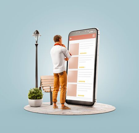 Unusual 3d illustration of a young man standing in front of big smartphone and browsing websites using applications. Smartphone apps concept. Choosing any items. Zdjęcie Seryjne