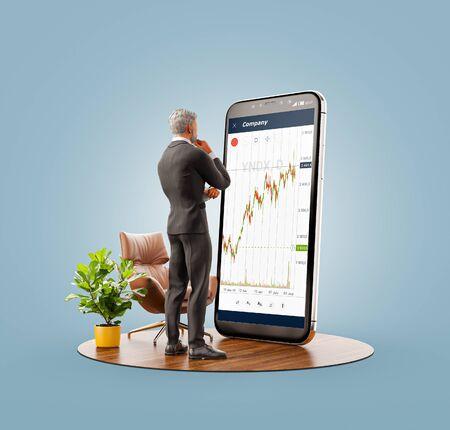 Ungewöhnliche 3D-Darstellung eines Geschäftsmannes, der vor Smartphone mit Börsendiagramm steht. Finanzen und Investitionen Smartphone-Apps-Konzept.