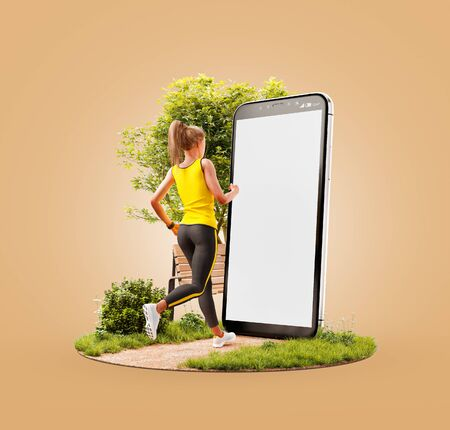 Unusual 3d illustration of a young woman in sportswear running in park in front of smartphone and using smart phone for exercises. Smartphone sports and gum apps concept. 版權商用圖片