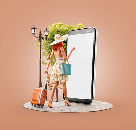 Unusual 3d illustration of a young woman in summer dress with travel suitcase goes to big smartphone screen and using smart phone application. Smartphone travel apps concept.