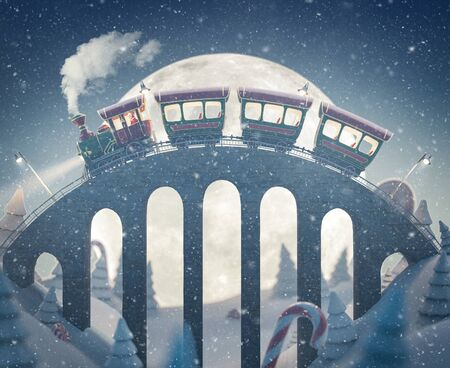 Amazing cute Santas christmas train goes by a brige in north pole. Unusual christmas 3d illustration Stock fotó